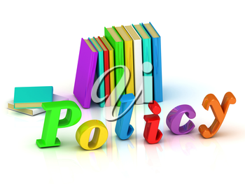 policy 3d inscription bright volume letter and textbooks on white background