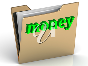 money - bright green letters on a folder on a white background