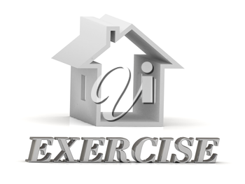 EXERCISE- inscription of silver letters and white house on white background