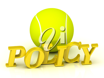 POLYCY - inscription of bright color letters and tennis ball on white background