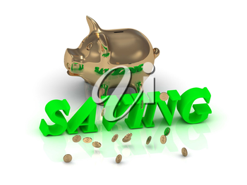 SAVING- inscription of green letters and gold Piggy on white background
