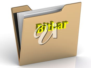 Bitbar- bright color letters on a gold folder on a white background