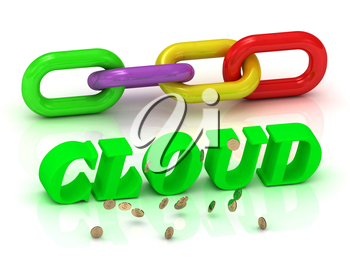 CLOUD- inscription of bright letters and color chain on white background