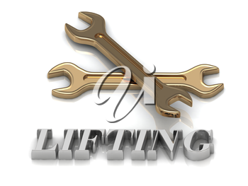 LIFTING- inscription of metal letters and 2 keys on white background