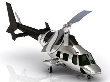 Silver helicopter with working propeller, isolated on white