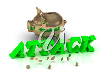 ATTACK- inscription of bright green letters and gold Piggy on white background