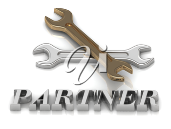 PARTNER- inscription of metal letters and 2 keys on white backgroundckgroundckground