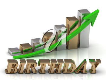 BIRTHDAY- inscription of gold letters and Graphic growth and gold arrows on white background