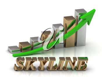SKYLINE- inscription of gold letters and Graphic growth and gold arrows on white background