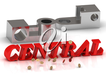 CENTRAL- inscription of red letters and silver details on white background