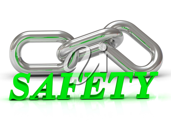 SAFETY- inscription of color letters and Silver chain of the section on white background