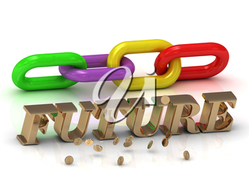 FUTURE- inscription of bright letters and color chain on white background