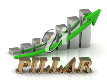 PILLAR- inscription of gold letters and Graphic growth and gold arrows on white background