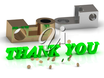 THANK YOU - words of color letters and silver details and bronze details on white background