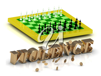 VIOLENCE- bright gold letters money and yellow chess on white background