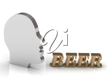 BEER bright color letters and silver head mind on a white background