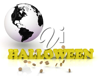 HALLOWEEN bright color letters, black and white Earth on a white background