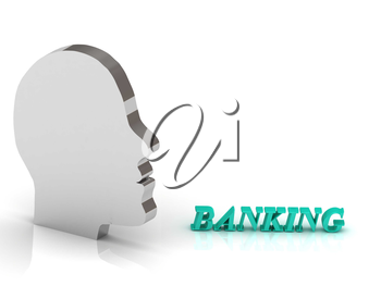 BANKING bright color letters and silver head mind on a white background