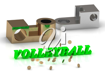 VOLLEYBALL - words of color letters and silver details and bronze details on white background