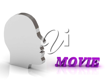 MOVIE bright color letters and silver head mind on a white background