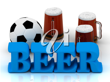 BEER blue bright word, football, 3 cup beer on white background