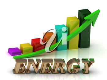 ENERGY  bright of gold letters and Graphic growth and green arrows on white background