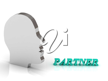 PARTNER bright color letters and silver head mind on a white background