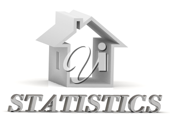 STATISTICS- inscription of silver letters and white house on white background