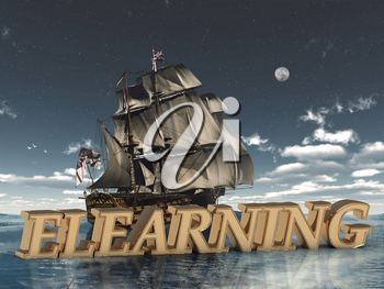 ELEARNING bright word, night sky, boat, moon, sea on white background