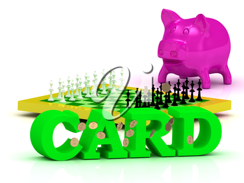 CARD bright word, money, pink piggy, yellow chess on white background