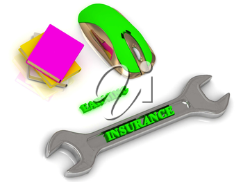 INSURANCE  bright volume letter on silver instrument, textbooks and computer mouse on white background