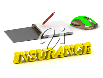 INSURANCE bright color yellow volume letter and textbooks and computer mouse on white background