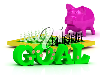 GOAL bright word, money, pink piggy, yellow chess on white background