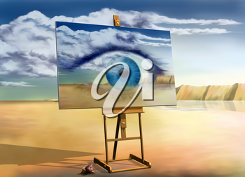 Royalty Free Clipart Image of an Easel Holding a Picture of an Eye with the Sky