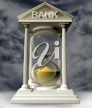Royalty Free Clipart Image of an Hourglass in a Bank Building