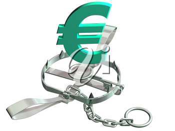 Royalty Free Clipart Image of a Bear Trap with a Euro Sign
