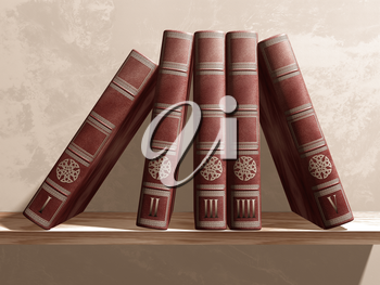 Royalty Free Clipart Image of a Books on a Bookshelf