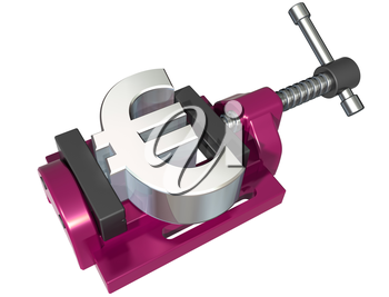 Royalty Free Clipart Image of a Euro Sign in a Clamp