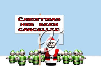 Royalty Free Clipart Image of Santa Holding a Sign that says Christmas Has Been Cancelled
