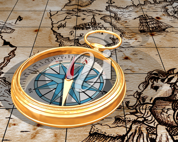 Royalty Free Clipart Image of a Compass with a Map