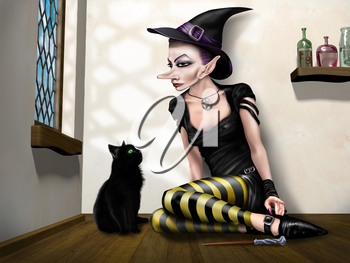 Royalty Free Clipart Image of a Witch with a Cat