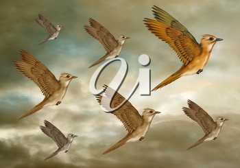 Royalty Free Clipart Image of Birds Flying
