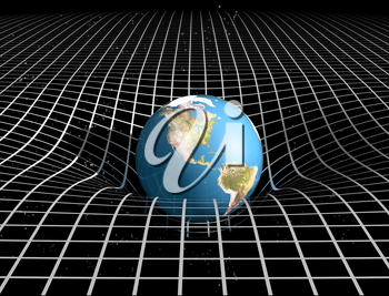 Royalty Free Clipart Image of a Ball in the Shape of a Globe Bouncing on Mesh Grid