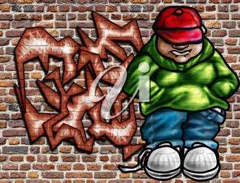 Royalty Free Clipart Image of Graffiti on a Wall