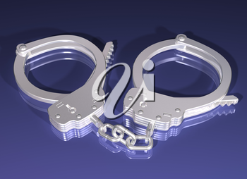 Royalty Free Clipart Image of a Pair of Handcuffs