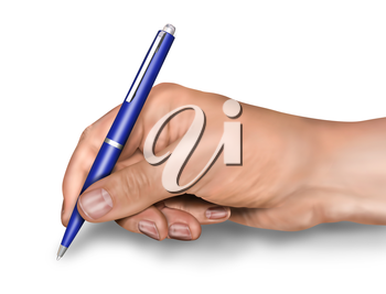 Royalty Free Clipart Image of a Hand Holding a Pen