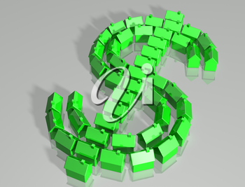 Royalty Free Clipart Image of a Dollar Sign Made up of Houses