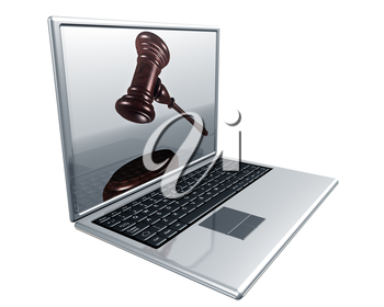 Royalty Free Clipart Image of a Laptop with a Picture of a Gavel on the Screen