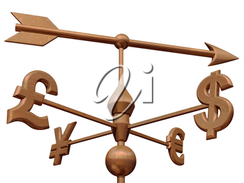 Royalty Free Clipart Image of a Weathervane with Currency Symbols