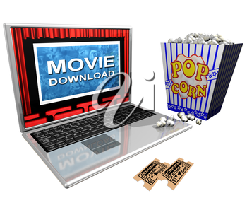 Royalty Free Clipart Image of a Laptop with a Movie Download on the Screen with Popcorn